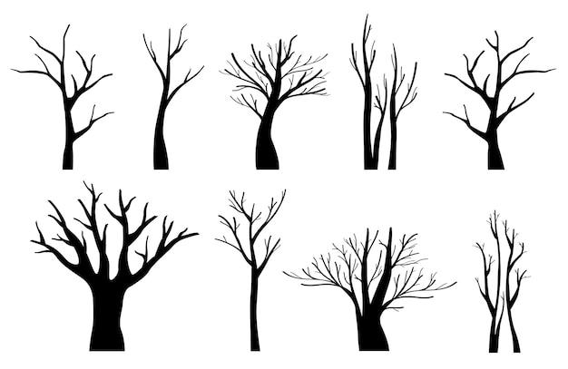 Schwarze bäume silhouetten eingestellt