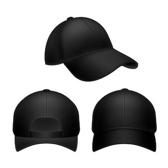 Schwarze baseballkappe. leerer hut, kopfbedeckungskappen in der vorder-, vorder- und seitenansicht.
