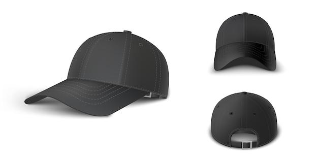 Schwarze baseballmütze set seite 3/4 perspektive, vorder- und rückansicht realistische vektorvorlage. mock-up für branding und werbung einzeln auf transparentem hintergrund.