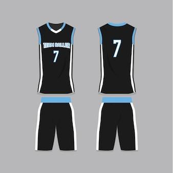 Schwarze basketball jersey vorlage