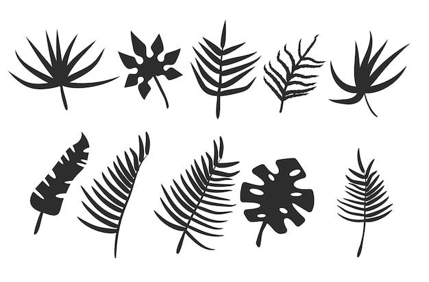 Schwarze blätter oder laubsilhouetten set von tropischen blattformen des vektors