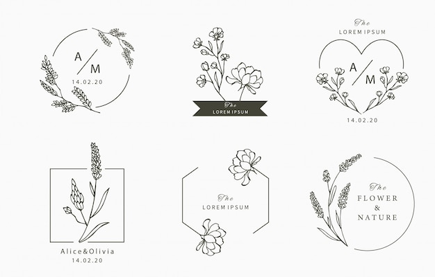 Schwarze blumenlogosammlung mit blättern, geometrisch. illustration für symbol, logo, aufkleber, bedruckbar und tätowierung