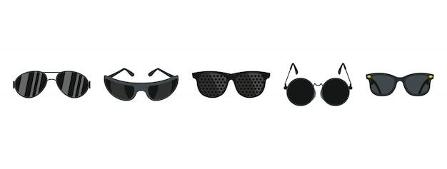 Schwarze brille-icon-set. flacher satz der schwarzen glasvektor-ikonensammlung lokalisiert