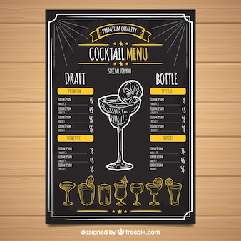 Schwarze cocktailkarte vorlage