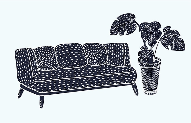 Schwarze couch der vektorkarikatur lokalisiert auf weißem hintergrund