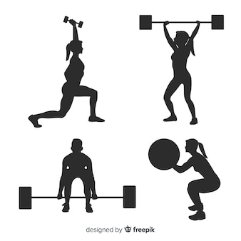 Schwarze crossfit training silhouette kollektion