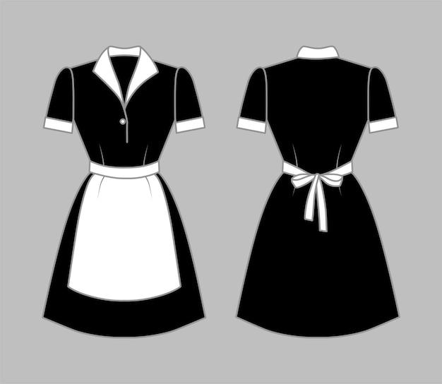Schwarze dienstmädchenuniform mit weißem schürzenkragen und manschetten vorder- und rückansicht vektorillustration