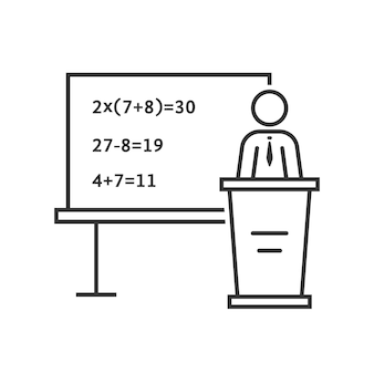 Schwarze dünne linie mathematiklehrer. konzept von qed, erklären, multipliziert, weisheit, mentor, college, beruf, show. flacher umrissstil trend moderne logo-design-vektor-illustration auf weißem hintergrund