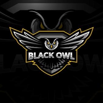 Schwarze eule maskottchen logo esport vorlagen