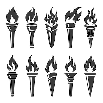 Schwarze fackel mit flammensammlung