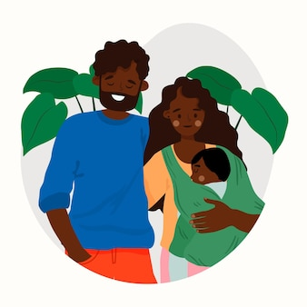 Schwarze familie des flachen entwurfs mit einem baby