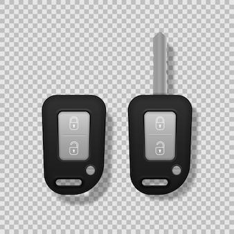 Schwarze farbe der realistischen autoschlüssel lokalisiert auf weißem hintergrund. satz elektronischer autoschlüssel vorder- und rückansicht und alarmsystem. 3d realistisch