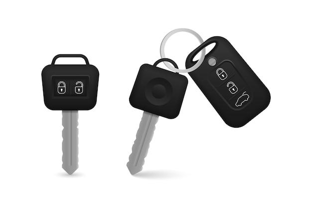 Schwarze farbe der realistischen autoschlüssel lokalisiert auf weißem hintergrund. satz elektronischer autoschlüssel vorder- und rückansicht und alarmsystem. 3d realistisch.