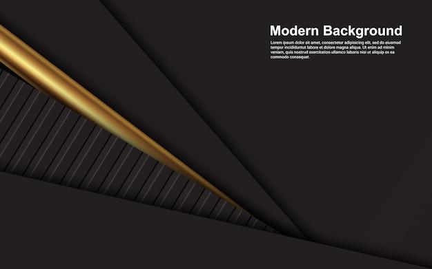 Schwarze farbe des abstrakten hintergrunds auf goldener linie