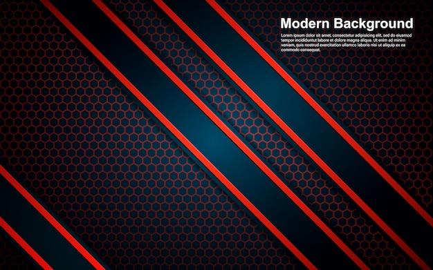 Schwarze farbe des modernen abstrakten hintergrunds und farbe der roten linie