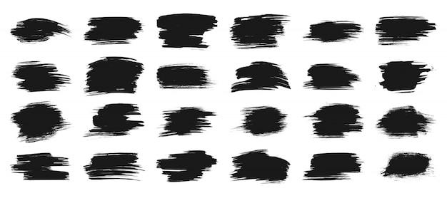 Schwarze farbe streicht pinsel, tintenfleckfahne, kastenrahmen für text, aquarellschmutz-hintergrundsatz.