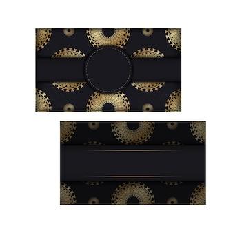Schwarze farbgrußkartenschablone mit goldenem abstraktem muster