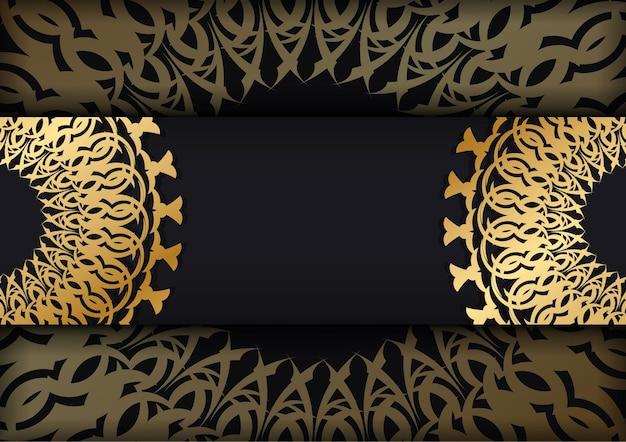 Schwarze farbgrußkartenschablone mit goldener abstrakter verzierung