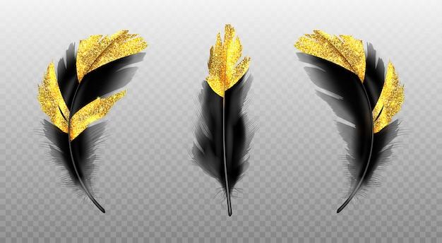 Schwarze federn mit goldglitter auf transparent