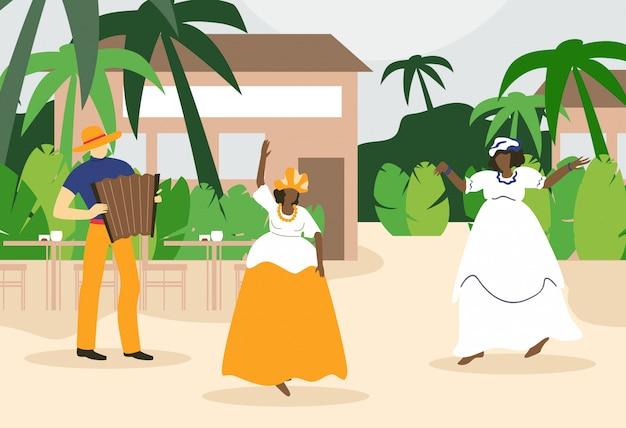 Schwarze fette frauen, die nahe café unter palme tanzen.