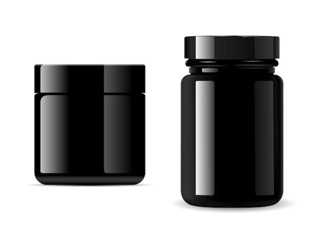Schwarze flasche. kosmetikglas 3d. pillenbehälter aus glänzendem glas