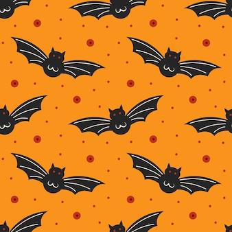 Schwarze fledermäuse. nahtloses muster des glücklichen halloween