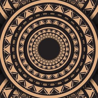 Schwarze flyer-vorlage mit braunem vintage-ornament