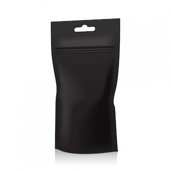 Schwarze folie food doy pack beutel tasche verpackung mit reißverschluss. illustration. , vorlage