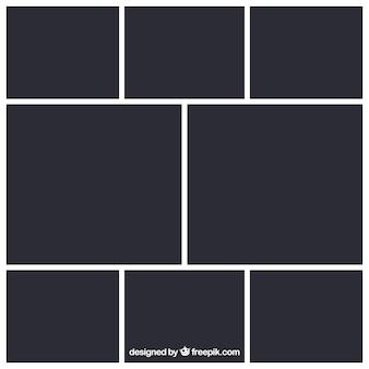 Schwarze fotorahmen-collage vorlage