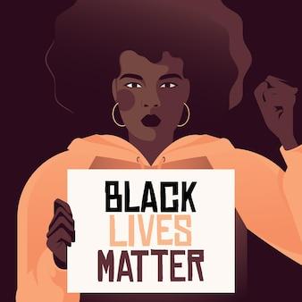 Schwarze frau, die an der bewegung der schwarzen lebensmaterie teilnimmt