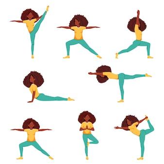 Schwarze frau macht yoga set von yoga-posen