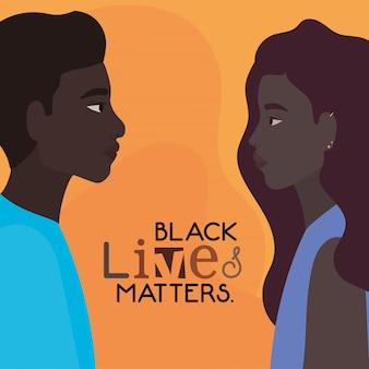 Schwarze frau und mann cartoons in seitenansicht mit schwarzen leben zählt textdesign von protest gerechtigkeit und rassismus thema