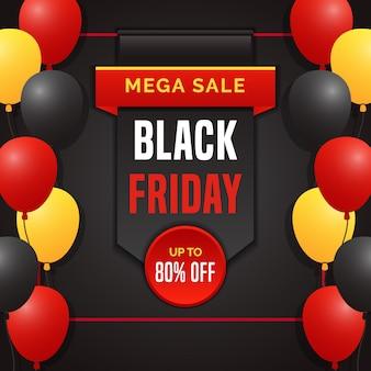 Schwarze freitag-ausweisverkaufsfahne mit ballon im quadratischen design