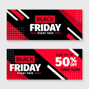 Schwarze freitag-banner im flachen design