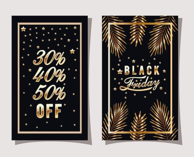 Schwarze freitag-kalligraphie im goldenen rahmen mit blättern