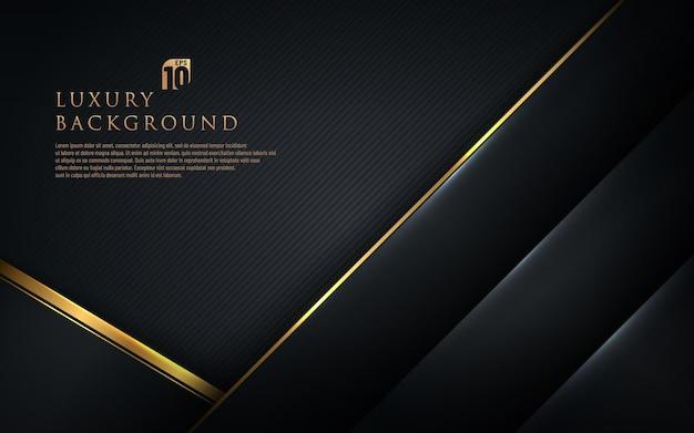 Schwarze geometrische diagonale der abstrakten schablone mit goldenem rand auf dunklem hintergrund. luxus und eleganter stil.