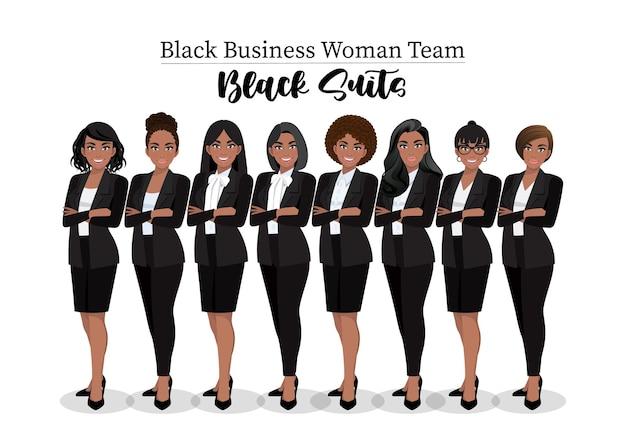 Schwarze geschäftsfrau oder amerikanische afrikanische weibliche figur verschränkte arme posieren in schwarzer anzugillustration.