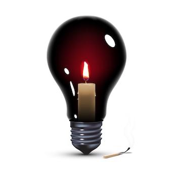 Schwarze glühbirne mit kerze innen