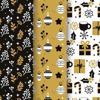 Schwarze & goldene weihnachtsmustersammlung