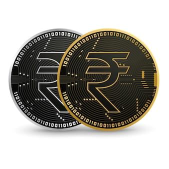 Schwarze goldmünze der digitalen rupie