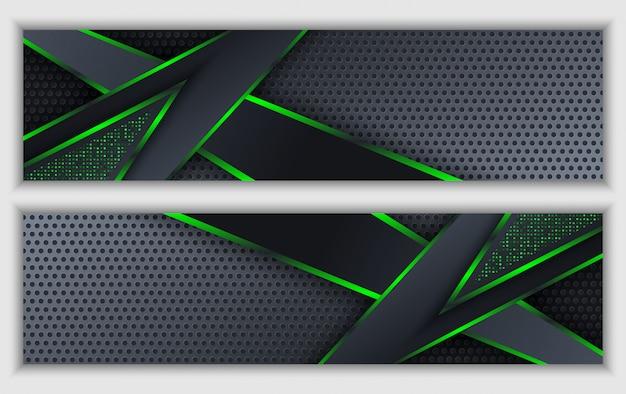 Schwarze grüne abstrakte unternehmensfahne mit glühendem neonfunkelntechnologiehintergrund