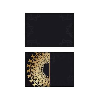 Schwarze grußkartenschablone mit goldener indischer verzierung