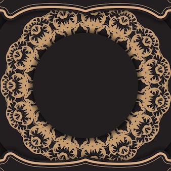 Schwarze grußkartenvorlage mit brauner indischer verzierung