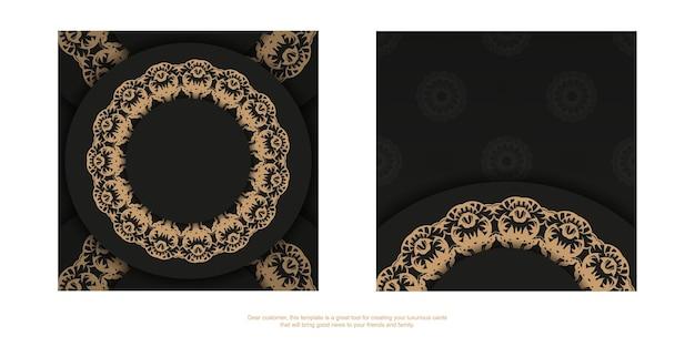 Schwarze grußkartenvorlage mit brauner vintage-verzierung