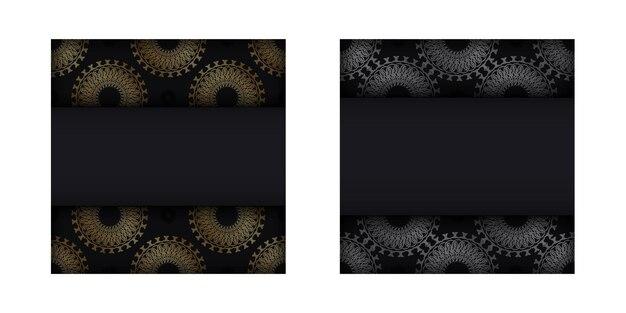 Schwarze grußkartenvorlage mit goldenem griechischem muster