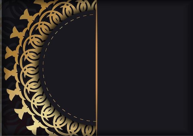 Schwarze grußkartenvorlage mit goldenem indischem muster