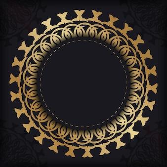 Schwarze grußkartenvorlage mit goldenem vintage-muster