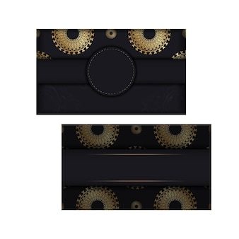 Schwarze grußkartenvorlage mit goldener vintage-verzierung