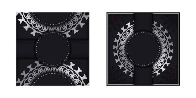 Schwarze grußkartenvorlage mit griechischem muster