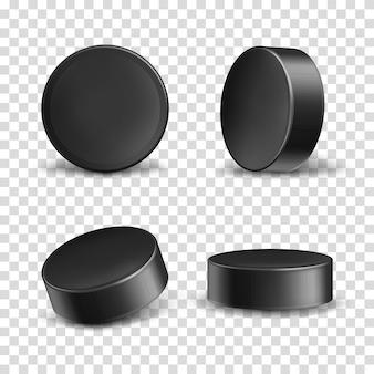 Schwarze gummipucks für eishockey